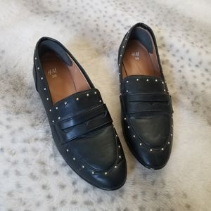H&M Black Studded Loafers